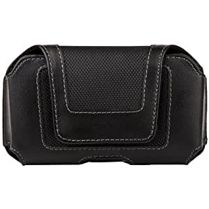 Black Luxmo Faux Leather & Nylon Horizontal Holster Case with Belt Clip for Nokia Lumia 510