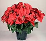 "23"" Realistic Red Artificial Foil Potted Christmas Poinsettia Plant"