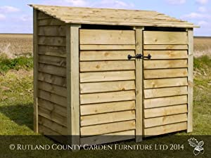 DOUBLE 4FT WOODEN LOG STORE/GARDEN STORAGE, WITH DOORS, GREEN, HEAVY DUTY, HAND MADE, PRESSURE TREATED, NATIONWIDE DELIVERY.