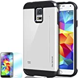 [Cotton White] Obliq Samsung Galaxy S5 Case SkyLine Pro w/ HD Screen Protector - Premium Slim Fit Dual Layer Hard Case - Verizon, AT&T, Sprint, T-Mobile, International, and Unlocked - Case for Samsung Galaxy S5 SV GS5 2014 Model Model