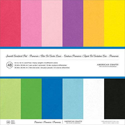 American Crafts American Crafts Smooth Cardstock Pack, 12 by 12-Inch, 48-Pack, Primaries