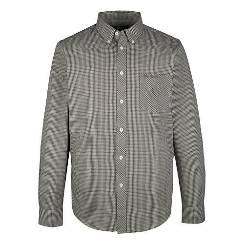 Ben Sherman collo Micro-Camicia a maniche lunghe, MA00727) grigio Large