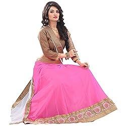 RedHot Fashion Women's Net Semi-stitched Pink Designer Lehenga Choli And Dupatta Set (RHRAJ2001)