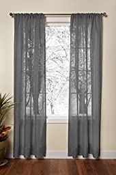 Cotton Craft - Genuine Pure 100% Linen Rod Pocket Window Panels - One Pair - Charcoal 54x108. Hand Crafted & Hand Stitched Sheer Linen panels - Generous 6 inch hem - Truly sophisticated luxury