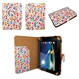 CaseGuru White Floral Daisy Wallet Case Cover With Magnetic Snap Closure & Document Holder for Tesco Hudl