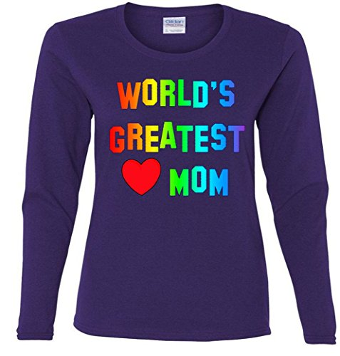 World's Greatest Mom Heart Ladies Missy Fit long sleeve T-Shirt