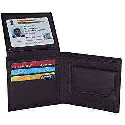 Black Unisex Leather Card Holder Wallets with 5 Credit card Slots