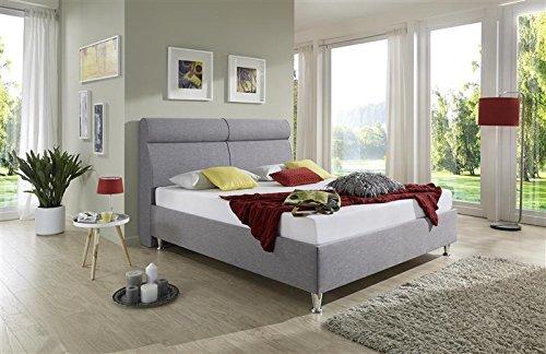 Breckle Polsterbett, Bett 180 x 200 cm Weaver Comfort 38 cm Höhe Stärke 3 cm Überstehend Textil grau