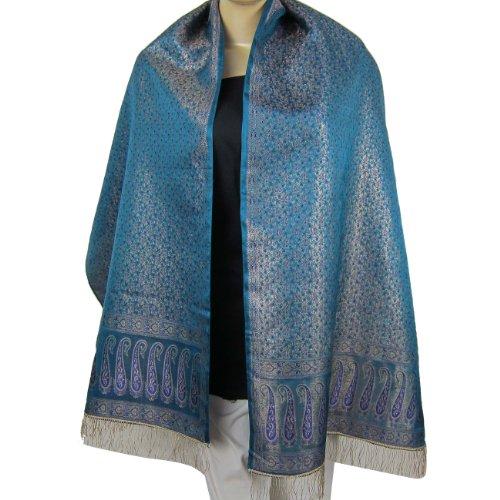 Silk Scarf Womens Scarf India Clothes Fabric Brocade Silk 55 cm x 182 cm