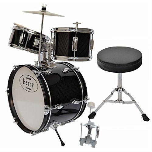 berry-toys-complete-kids-large-drum-set-with-cymbal-stool-and-sticks-black-by-berry-toys