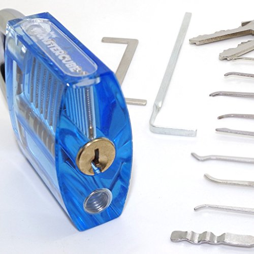 Monstercube DIY jouet 11 pièces Kits de crochetage outils, cadenas à transparent , pour serrurier débutant (avec deux clés)