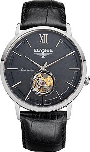 Elysee Picus reloj para hombre de negro/plata con correa de cuero Negro