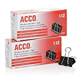 Acco Brands Binder Clips, Medium, 12 per Box, 2 Boxes (A7072050)