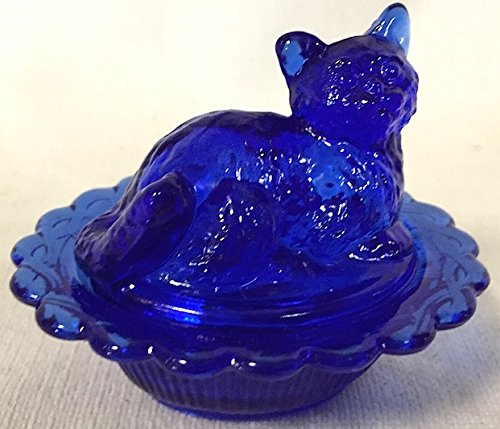 Salt Cellar - Cat - Mosser - American Made (Cobalt Blue) Cobalt Blue Carnival Glass