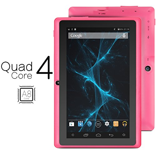 ProntoTec Axius Series Q9 7 Inch Quad Core Android 4.4 KitKat Tablet PC, 800 x 480 Pixels Cortex A8 Processor, 4GB ROM, Dual Camera, G-Sensor, Google Play Pre-loaded -Pink (2015 New Model)