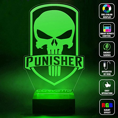CMLART Handmade The Punisher Skull Logo 3d Lamp RGB Full Color 44 Key Remote control LED Night Light Best Gift Desk Table Lighting Home Decoration Toys (Red Hood Poster Dc compare prices)
