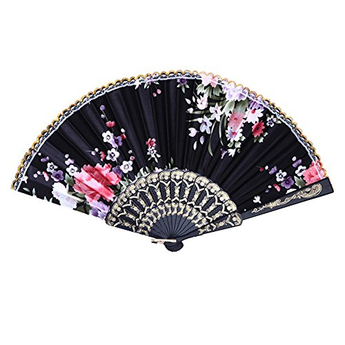 Weixinbuy Chinese Summer Folding Hand Fan Fabric Floral Wedding Party Favor Pocket Fan (Black)