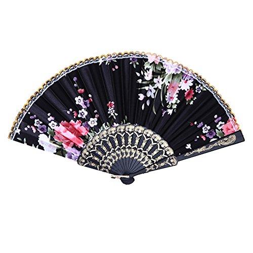 Weixinbuy Chinese Summer Folding Hand Fan Fabric Floral Wedding Party Favor Pocket Fan (Black)
