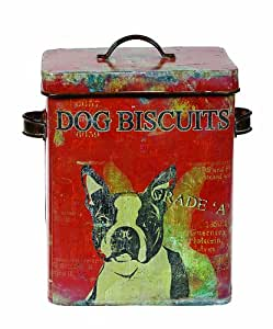 Creative Co-op Turn of The Century Tin Dog Biscuit Container, 9-Inch