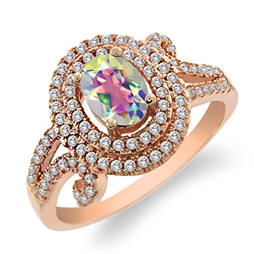 2.20 Ct Natural Mercury Mist Mystic Topaz 925 Rose Gold Plated Silver Ring