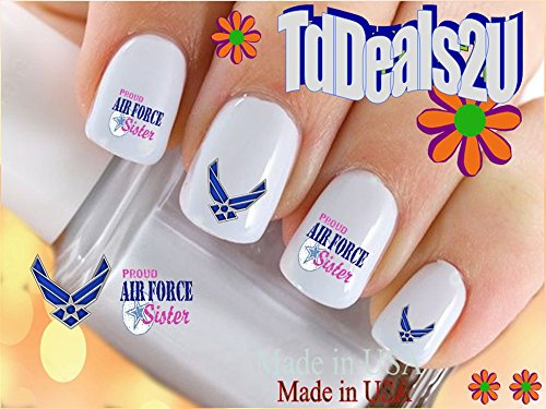 Military - Air Force Sister - WaterSlide Nail Art Decals - Highest Quality! Made in USA (Air Force Top Coat compare prices)