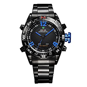 Mens Sport Watch Dual Time LED Digital Analog Black Metal Band Quartz Blue Hands WH-155