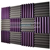 2x12x12 (12 Pack) PURPLE/CHARCOAL Acoustic Wedge Soundproofing Studio Foam Tiles