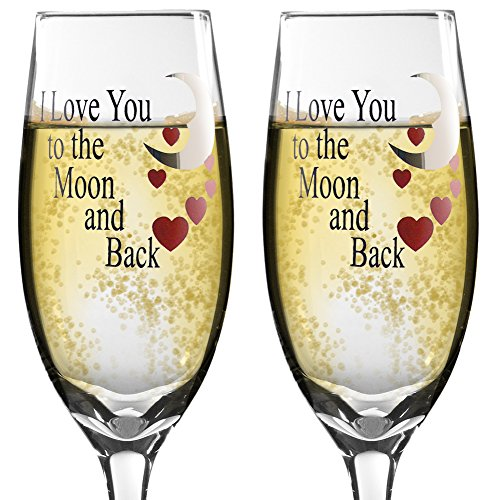 Glass Champagne Glasses - I Love You to the Moon and Back Champagne Flutes - Set of 2 Champagne Glasses - Anniversary Gift - Wedding Glasses - I Love You Gift