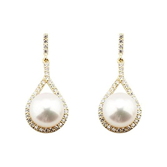 18k gold earrings cultured pearl teardrop long zircons [5570]