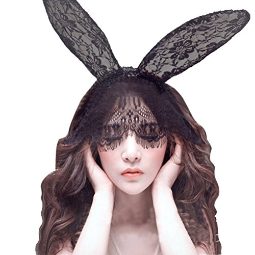 Sexy Halloween Costume Rabbit Ears Hairband Lace Veil Mask