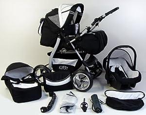 3 in 1 Kombikinderwagen Komplettset VIP - inkl. Kinderwagen, Babyschale und Sportwagen Aufsatz - 11 Farben auswählbar