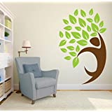 Decal Style Hand Tree Wall Sticker Large Size- 25*40 Inch Color - Multicolor