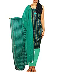 Unnati Silks Women Unstitched multicolor-green pure handloom Andhra khadi cotton salwar Kameez