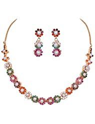Gehna Multi Color Stone Studded Flower Style Necklace & Earring Set