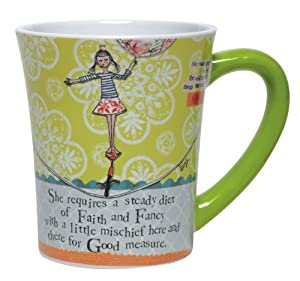 Santa Barbara Design Studio Curly Girl Ceramic Mug with Striped Gift Box, Faith And Fancy
