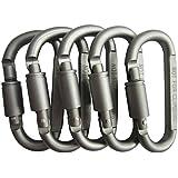 LeBeila Aluminum Alloy Carabiner Screw Lock Hooks, Practical Spring Snap Key Chain Clip Hook Outdoor Hiking Buckle (D-ring Shape) 5pcs