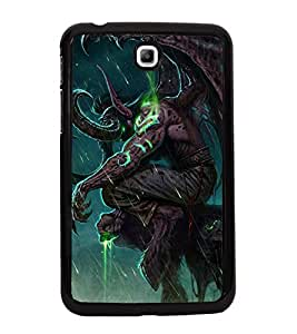 Fuson Premium 2D Back Case Cover Animated Devil With Blue Background Degined For Samsung Galaxy Tab 3 T211 P3200