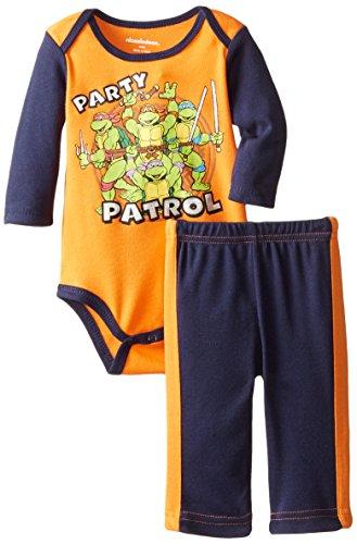 [Teenage Mutant Ninja Turtles Baby Boys' 2pc Bodysuit and Pant Set, Orange, 6-9 Months] (Turtles Suit)