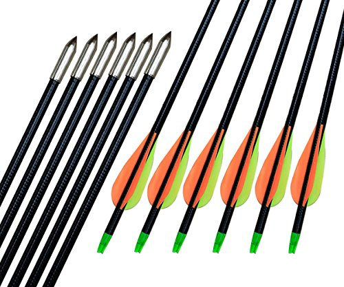 Huntingdoor-32-Inch-Fiber-Glass-Shaft-Arrows-66mm-Practice-Archery-Arrows-with-Points-for-Recurve-Bow-Compound-Bow-6-Pack
