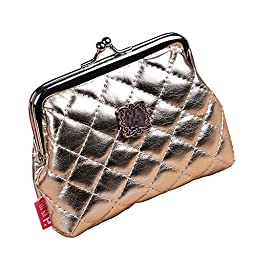 Small Wallet Holder Coin Purse Clutch Handbag Bag Credit Card & Change Holder Wallet (Gold)