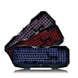 AULA SI-859 Backlit Gaming Keyboard with Adjustable Backlight Purple Red Blue USB Wired Illuminated Computer Keyboard