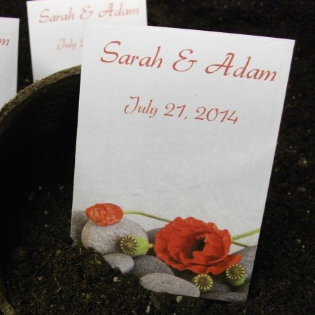 Personalized Seed Packet Favors - Red Poppy Rocks