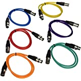 SEISMIC AUDIO - SAXLX-3 - 6 Pack of 3' Multiple Color XLR Male to XLR Female Patch Cables - Balanced - 3 Foot Patch Cords