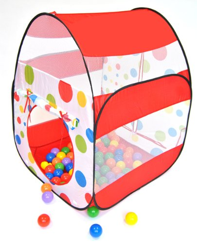 "Red Polka Dot Twist Play Tent House W/ 100 ""Phthalates Free"" Balls & Safety Meshing For Child Visibility: Free Mystery Gift"