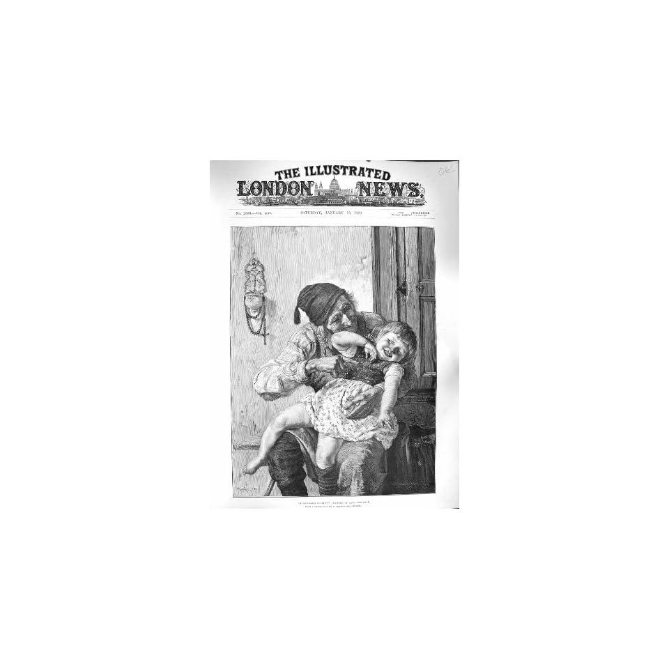 1889 GRANDAD DELIGHT LITTLE GIRL GRANDCHILD FINE ART