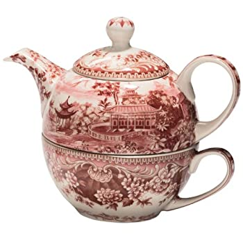 Red Transferware Tea for One