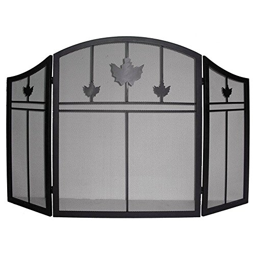 Rustic Fireplace Screen 3 Panel Black Iron Screen Doors Three Panels (Fireplace Screen Leaves compare prices)