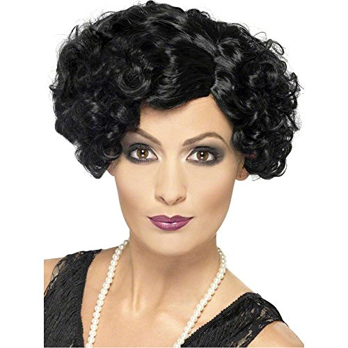 20s Flapper Black Finger Wave Wig - One Size