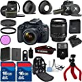 Top Value Bundle For T5 Camera Body with 18-55mm IS II + Deluxe Backpack + 3Pc Filter Kit + Wide Angle Lens + Telephoto Lens + Spider Tripod + Extra Battery + 2pcs 16GB Memory Cards + 24pc Kit