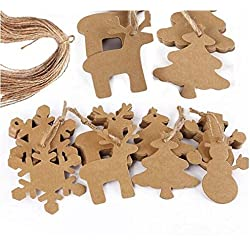 WINOMO Kraft Paper Tag with 20M Rope Christmas Gift Parcel Tags Xmas Tree Snowflake Deer Snowman Scalloped 100pcs (Brown)